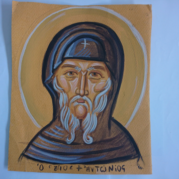 Drawing of St Anthony the Great original sketch  hand drawn deset fathers egg tempera on an orange canosn paper by angelicon