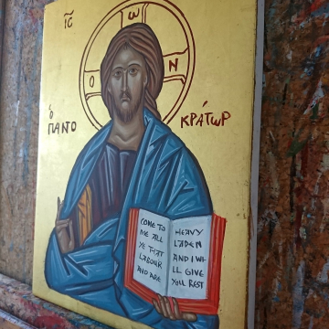 Custom Order Byzantine icon of the Lord Jesus Christ Pantokrator A4 size 22K gold hand painted on wood- greek russian icons painting by angelicon