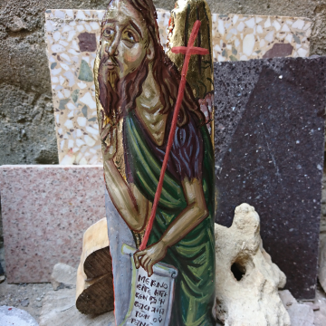 St John in Driftwood - Painting of The Holy Forerunner, Saint John the Baptist OOAK art in beach wood handpainted with egg tempera