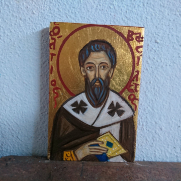 Saint Basil the Great mini byzantine icon hand-painted eggtempera on plywood original medieval art Greece