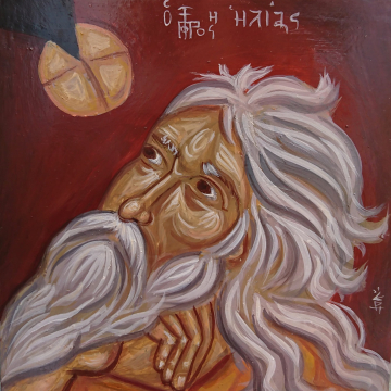 Clone of Contemporary Byzantine icon Prophet Elias- biblical Elijah fed by the raven- Gods Providence  religious art and holy iconography of Greece