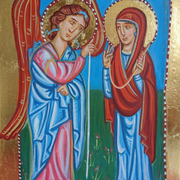 Icon of Evangelismos or Annunciation to the Blessed Virgin Mary - Painting of Theotokos and Gabriel inspired by medieval art