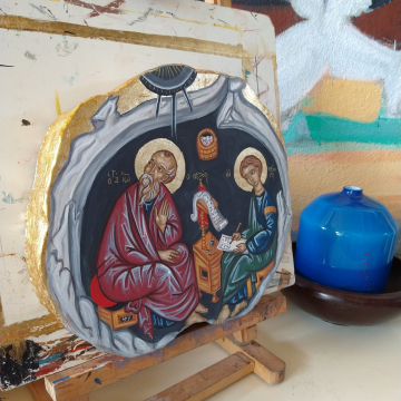 St John of Theologian with St Prochorus- Byzantine Icon in olive wood- contemporary religious art of Greece Reserved for B
