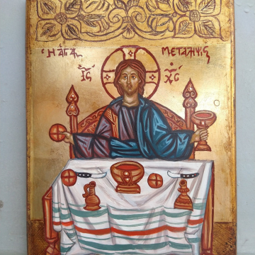 Byzantine Icon of the Holy Communion- Painting of the Eucharist - Icons Jesus Christ on carved wood folk outsider art of Greece