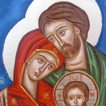 Holy Family icon- byzantine catholic icon contemporary religious art and iconography egg tempera on canvas with craquelure
