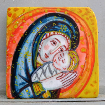 Marble painting with Holy Mother and Christ -Contemporary icon  of Madonna and Baby Jesus painted by hand repurposed eco-friendly art gifts for Xmas