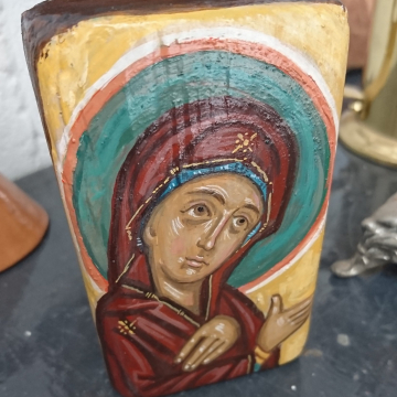 Holy Mother standing icon on a piece of driftwood- Repurposed art Icons of Theotokos Orthodox tradition and icon painting