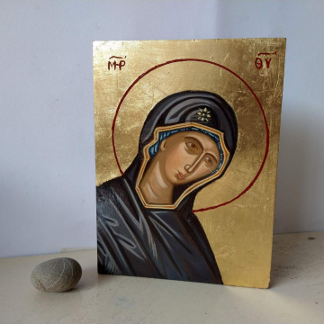 Mother of God- Virgin Mary Eastern orthodox byzantine icon- religious painting of Theotokos Maria, Madonna  in purple and blue