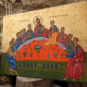 Icon of the Last Supper- Jesus Christ and 12 apostles Antique style Byzantine painting eggtempera on plywood