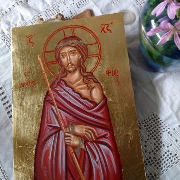 Custom order for an icon of Christ Nymhios Painting of the Bridegroom Eggtemppera on plywood  Passion of Christ