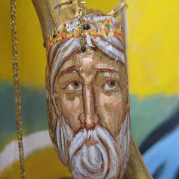 The Norse King- hanging ornament in beachwood- Driftwood art egg tempera in re-purposed art vikings nordic lore