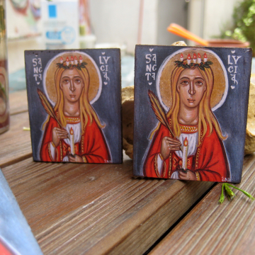 St Lucys day gifts - Mini icon favors of St Lucia- ornaments and decoration for Swedish Christmas