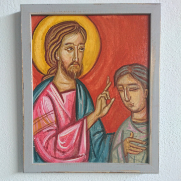 Jesus healing the man born blind-Framed painting contemporary religious art and iconography miracles of Christ  tempera on canvas