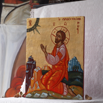 Jesus Praying Byzantine contemporary icon painting of Passion and Agony of Christ in the Garden of Gethsemane holy iconography of Greece