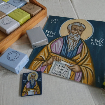 Custom made mini icon favors of St Kyriakos -100 pieces of DIY Greek boubouniera- hanging icon paper print mounted on wood