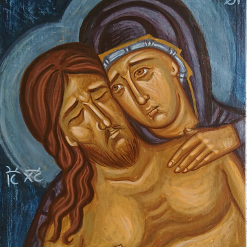 Lamentation of Christ on canvas -Lament of Theotokos  fragment of Apokathilosis Deposition from the Cross contemporary sacred art of Greece