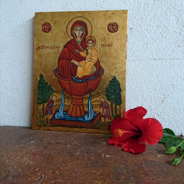 Byzantine Icon of Theotokos the Life-Giving Spring, orthodox Zoodochos Pigi,  eggtempera iconography and art made in Greece