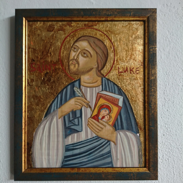 St Luke the Evangelist a Framed painting of the patron of iconographers - antique style  icons Religious naive and coptic inspired art