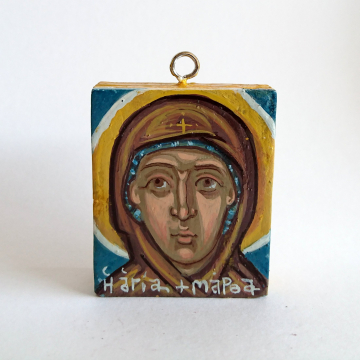 St Martha of Bethany hand painted egg-tempera carry on icons -wood female saints original art and iconography