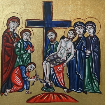 Deposition from the Cross - study of  a Medieval  illumination mixed media on wood - Passion of Christ European art and tradition