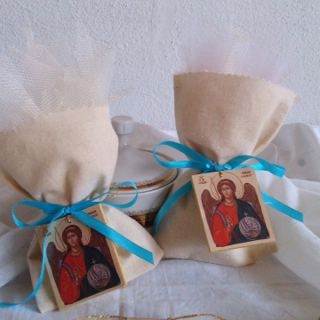 Archangel Michael baptism gift Bomboniere  with the icon of Michail - 10 pieces of mini icon natural fabric tulle  pouches ribbons and sugar coted almond traditional guest gifts