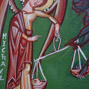 St Michael with the scales of justice- painting medieval angels and devils, judgement day eggtempera on canvas