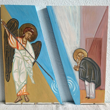 Miracle of St Michael at Chonae -Contemporary icon of the Archangel in two pieces icon of the Angel  Sacred art and iconography