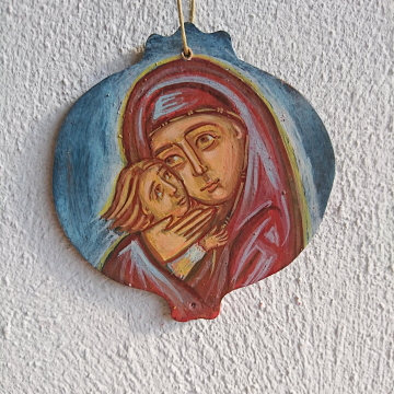 Mother holding Child ornament painting wooden Pomegranate charm-Baby Shower or wedding gifts amulets and charms made in Greece
