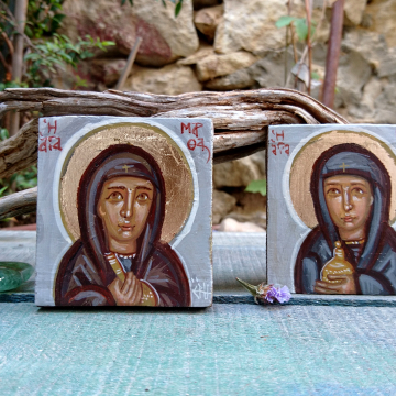 Saints Martha and Mary of Bethany sisters of Lazarus eggtempera on driftwood