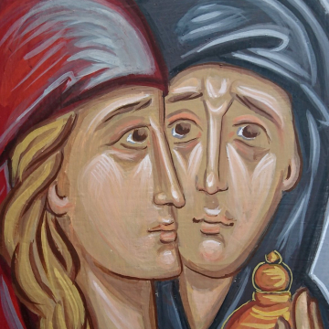 Myrofores Icon of the two Women by the Tomb- Contemporary byzantine painting of the Myrrhbearers - Orthodox art and iconocraphy