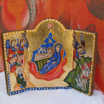 Holy family icon- Folk naive Xmas triptych Nativity of Christ painting for Christmas, armenian art handpainted gift