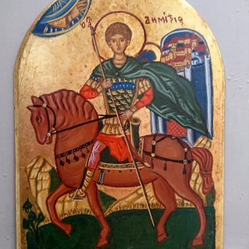 St Demetrius  of Thessalonica  Antique style Arch shaped byzantine icon of the orthodox saint and Martyr Dimitrios the Myrhh- gusher