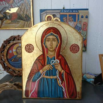 Custom order for the byzantine Holy Mother Untier of Knots -25 x35 cm egg tempera on plywood contemporary religious art of Greece
