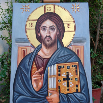 "Made to order Christ Pantocrator of Mt Sinai byzantine icon of the Lord 30x40cm or 11.8""x 15.7"" eggtempera on plywood"