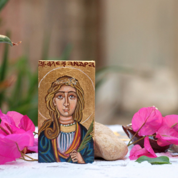 Miniature icon of St Alexandra of Rome, Saint Alexandria Empress and Holy Martyr, religious mini painting by angelicon