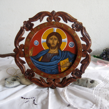 Jesus Christ Pantocrator with a Traditional carved Frame, Icons of the Lord All mighty -Liturgical and sacred art of the East