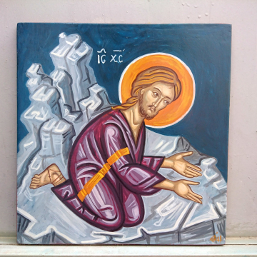 Jesus Praying Icon- Agony of Christ in the Garden of Gethsemane Byzantine art and iconography of Greece