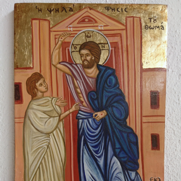 Apostle and Saint Thomas the Unbeliever, touching the risen Christ- Byzantine orthodox  icon Psilafisis painted by hand