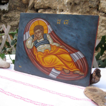 Reclining Infant Jesus - Christ O Anapeson- Byzantine icon hand painted egg tempera on wood sacred art of Greece by angelicon