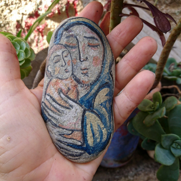 Pebble Mama eyes closed - Mother and baby River Rock painting- original piece acrylics on stone- Motherhood in art
