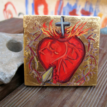Sacred Heart of Jesus- Miniature icon of sagrado corazon  religious Catholic iconography  Egg tempera painted by hand on re-used wood prayer corner religious gifts and ornaments