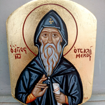 Byzantine icon of Saint John  Climacus - Sinai Fathers and scholars Contemporary icons painting of a Desert Father