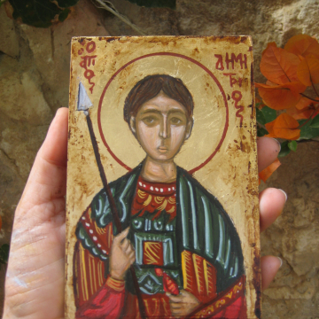 St Demetrius byzantine icon of the orthodox saint and Martyr Dimitrios the Myrhh- gusher of Thessalonica- icons and religious art hand painted in Greece by Eka and Eri- Antique like icon of Agios Dimitrios