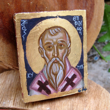 St. Epiphanius the Bishop of Cyprus- Greek saints series -Carry on icon, keepsake miniatire painting eggtempera on wood name day gift