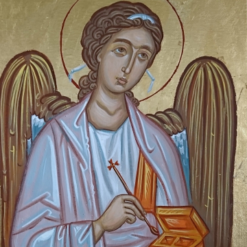 Saint Raphael the Archangel canvas painting 30x40 cm of the Healer Angel Contemporary byzantine icon sacred art  by angelicon
