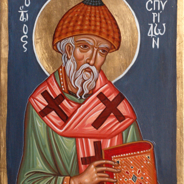St Spiridon the Wonderworker Byzantine  contemporary icon painting sacred art and traditional holy iconography made in Greece