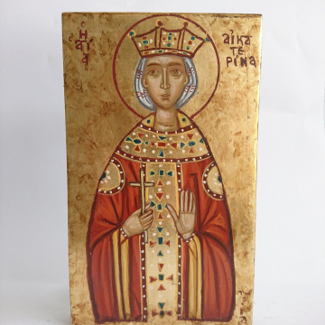 Saint Catherine of the Wheel  - Saint Aikaterina traditional name gift hand painted on oak wood  byzantine icon with the image of Ekaterina of  Alexandria