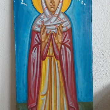 St Monica of Hippo -religious painting of the Female Saint contemporary byzantine icon Christian art and iconography
