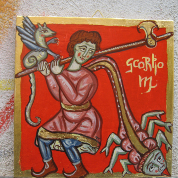 Medieval painting of the Scorpio zodiac sign- Middle Ages bestiary Birthday present hand-painted  egg tempera astrological symbol mythical and legendary creatures