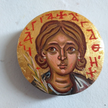 Round mini St Agatha of Rome byzantine icon- Contemporary religious painting patron of breast cancer victims
